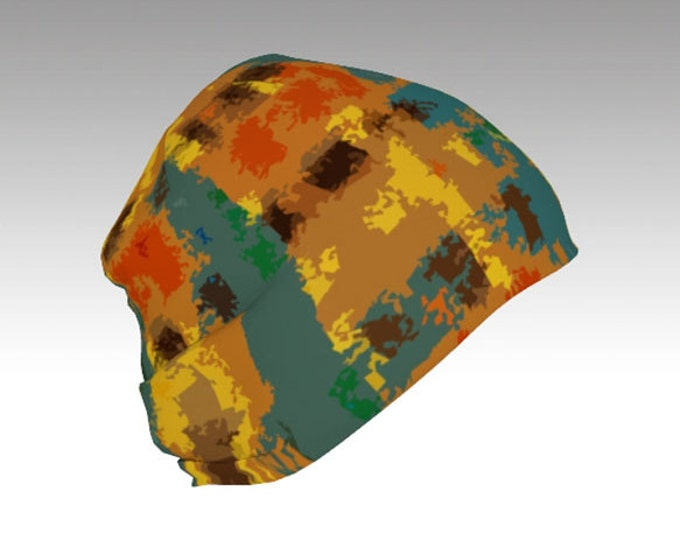 Plaid, Gold and Teal Beanie Cap, Warm Slouchy Cap, Beanies, Adult and Kids Beanies, Winter Hats, Winter Caps