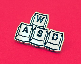 WASD | Enamel Pin Badge | Soft Enamel Badge | Keyboard Game Controller | Keys | Fun Gold Pin Badge Gift for Video Gamers
