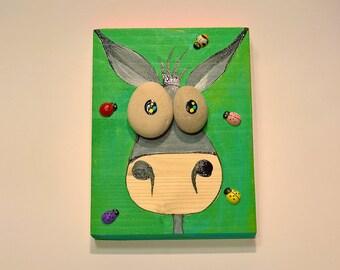 Funny Donkey Painting on Wood, Mr.Donkey,Cool Donkey, Paintings on Wood, Pebbles Art