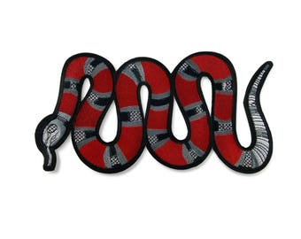 Snake Embroidered Iron-On Patch/Snake Large Back Patch