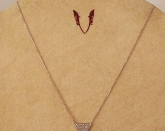 Necklace silver chain and cristal triangle pendant  swarovski