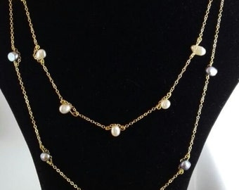 Gold filled necklace with real pearls