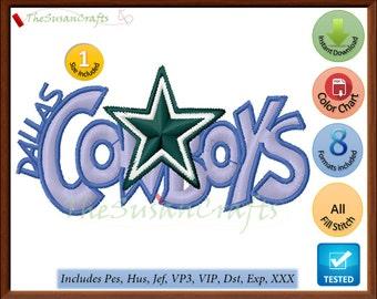 DALLAS Cowboys 1st EMBROIDERY DESIGNS Pes, Hus, Jef, Dst, Exp, Vp3, Xxx, Vip
