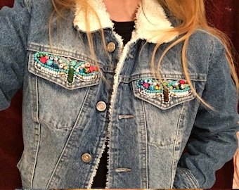 Winter denim jacket handbeaded embroidery. Size M