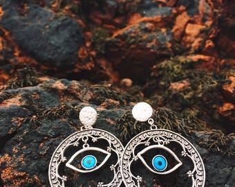 Handmade Kazakh Earrings Violet colour