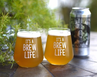 BEER GLASSES - Set of 2 'ItsABrewLife' 14 oz Beer Glassware, Beer Glass, Stemless Glass, Beer Lover Gift, Gift Ideas, Beer Gift, Craft Beer