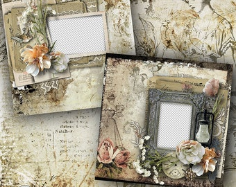 Premade Digital Scrapbook Page, 12x12, Digital Scrapbook Quick Page, Vintage Quick Page, Shabby Layout, Heritage Quick Page, Quick Page,