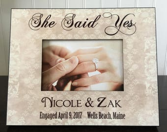 Personalized Engagement Picture Frame  // She said yes gift //  Gift to Couple // Gift to Her Bridal Shower // 4x6 picture frame