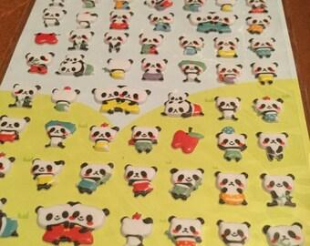One sheet of puffy Panda Made in Korea Petit sticker Nara  for scrapbooks, planners or journals Kawaii Japan Sticker