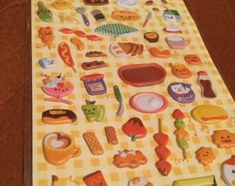 One sheet of puffy food stickers Made in Korea for scrapbooks, planner or journals Kawaii Japan Sticker Dessert Box