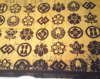 "vintage Japanese cotton scrap yellow based textile a family crest decorated 63 cm (24.8"") width x 88 cm  (34.6"") length"