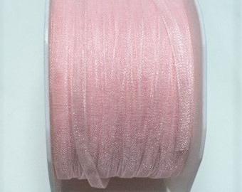 "Pink sheer ribbon 1/4"" wide, 50 yards"