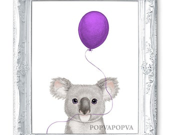 Baby Room Print, Boys Room Print, Girls Room Print, Cute Gift for Kids Room Print, Koala Painting, Koala Illustration, Purple Nursery Print