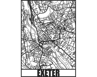 Exeter Map - Exeter wall art - Map of Exeter - Exeter Art - papercut, not a print - housewarming gift - Exeter papercut map - Exeter map art