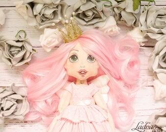 Fairy doll. Handmade doll. Collectible doll. Interior doll. Art doll. Cloth doll. Rag doll. Textile doll. Elf doll. Soft doll.  pink doll