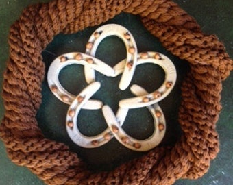 Hand Knotted Wreath With Suspended Horse Shoe Star