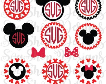 Mickey Mouse Monogram SVG Minnie Mouse Monogram Svg Mickey Head Svg Frame SVG DXF Silhouette Studio Png Eps Silhouette Cricut Desing Space