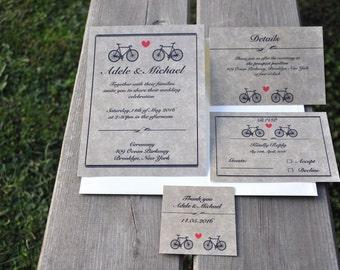 Wedding Invitation / Bicycle Invitation / Romantic Invitation