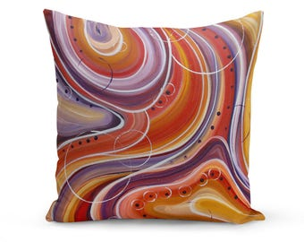 Pillow Cover, Abstract Pillow Cover, Orange and Purple Pillow Cover, Original Abstract Throw Pillow, Abstract Painting, Modern Pillow Cover