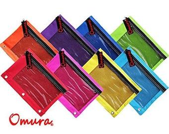 Omura Pencil Pouch, Mesh Windows, Zippered & Standard 3-Ring Binder ULTRA BRITE (Pack of 8)