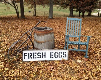"Wooden Distressed ""FRESH EGGS"" sign"