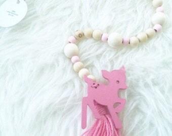 Beaded Garland - Pink - Nursery Decor - Baby Shower Gift - Baby - Bedroom Decor - Wooden Beads - Deer Decor - Woodland Theme - Baby's Room