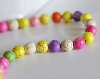 Lot of 10 round multicolored beads in turquoise
