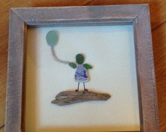 Handmade sea glass and driftwood box frame girl with balloon
