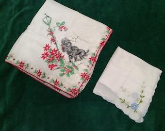 Beautiful vintage linen handkerchiefs, set of two