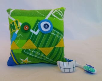 Monster Tooth Fairy Pillow - football, yellow teeth, kelly green back