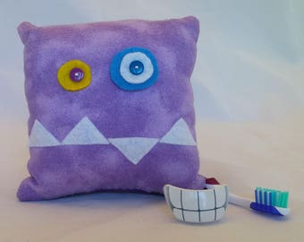 Monster Tooth Fairy Pillow - lavender, white teeth, purple back