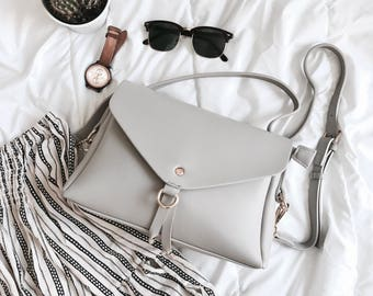Crossbody Shoulder Vegan Leather Minimalist Contemporary Grey Purse Bag