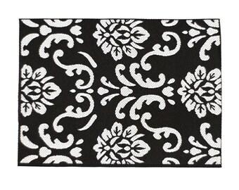Modern Dollhouse Black rug 1:12 scale