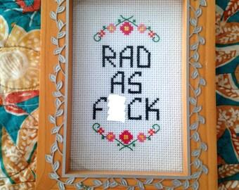 Rad AF Cross Stitch Pattern PDF Instant Download
