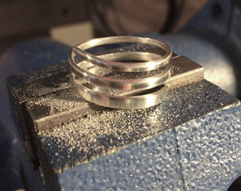 Micro brushed finish sterling silver wrap around band size 8 1/2