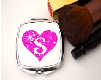 Compact mirror, glitter heart, initial, mirror,