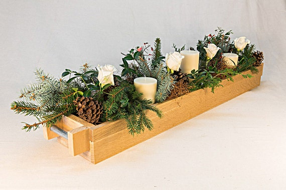 Centerpiece oak box natural unfinished wood