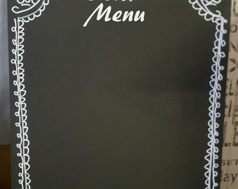 Menu A4 Chalkboard Hand Decorated Shabby Chic Blank Large Blackboard