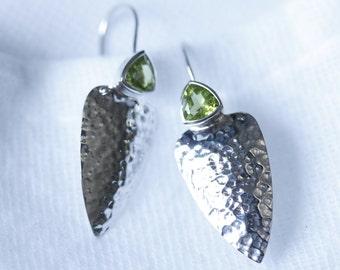 peridot earrings, Apple Green Earrings, August Birthday, silver earrings, dangle & drop earrings, 925 Peridot, valentine gift