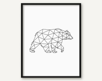 Geometric Animal Print, Geometric Bear Print, Bear Art, Geometric Print, Bear Poster, Geometric Wall Art, Minimal Print, 8x10 Print