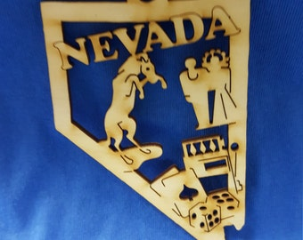 Nevada State wooden ornament