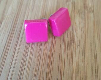 Dark pink fuschia square polymer clay earrings
