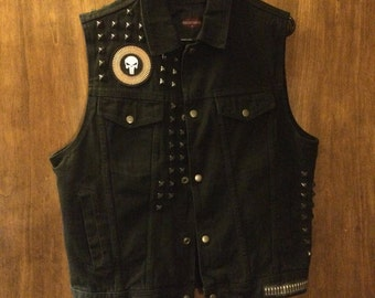 Custom Punisher skull studded denim vest mens medium