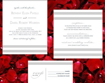 Modern Wedding Invitation Suite with Charcoal Grey, Silver and Pink Mauve/Rose Accents