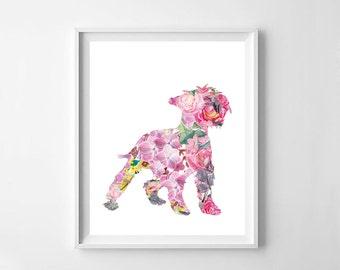 Miniature schnauzer, watercolor schnauzer, watercolor, custom dog silhouette, dog silhouette, room decor,printable decor, digital file,