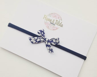 Navy liberty print baby headband
