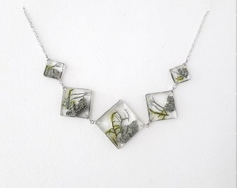 """Necklace """"Forest silver"""" out of the moss, resin and silver 925"""