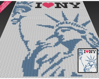 I Love New York crochet blanket pattern; c2c, cross stitch; knitting; graph; pdf download; no written counts or row-by-row instructions
