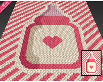 Baby Bottle crochet blanket pattern; c2c, knitting, cross stitch graph; pdf download; no written counts or row-by-row instructions