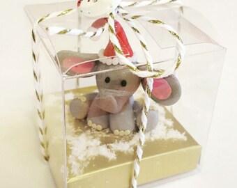 Elephant Polymer Clay Ornament, Elephant Ornament, Clay Ornament, Christmas Elephant, Gift for her, Elephant Gift, Gift For Christmas